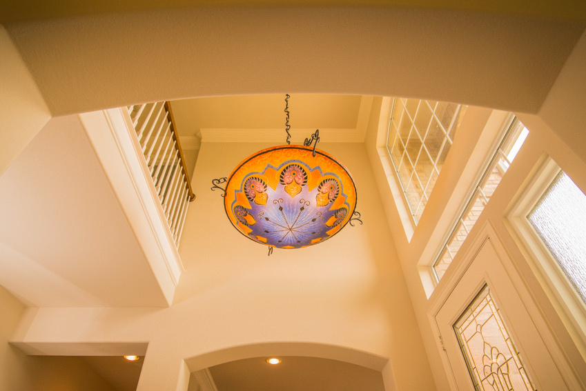Detail of entrance lighting of home at 10001 Grandview in Denton Texas
