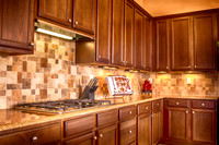 Kitchen Showing Detail of back splash of Robson Ranch home in Denton Texas
